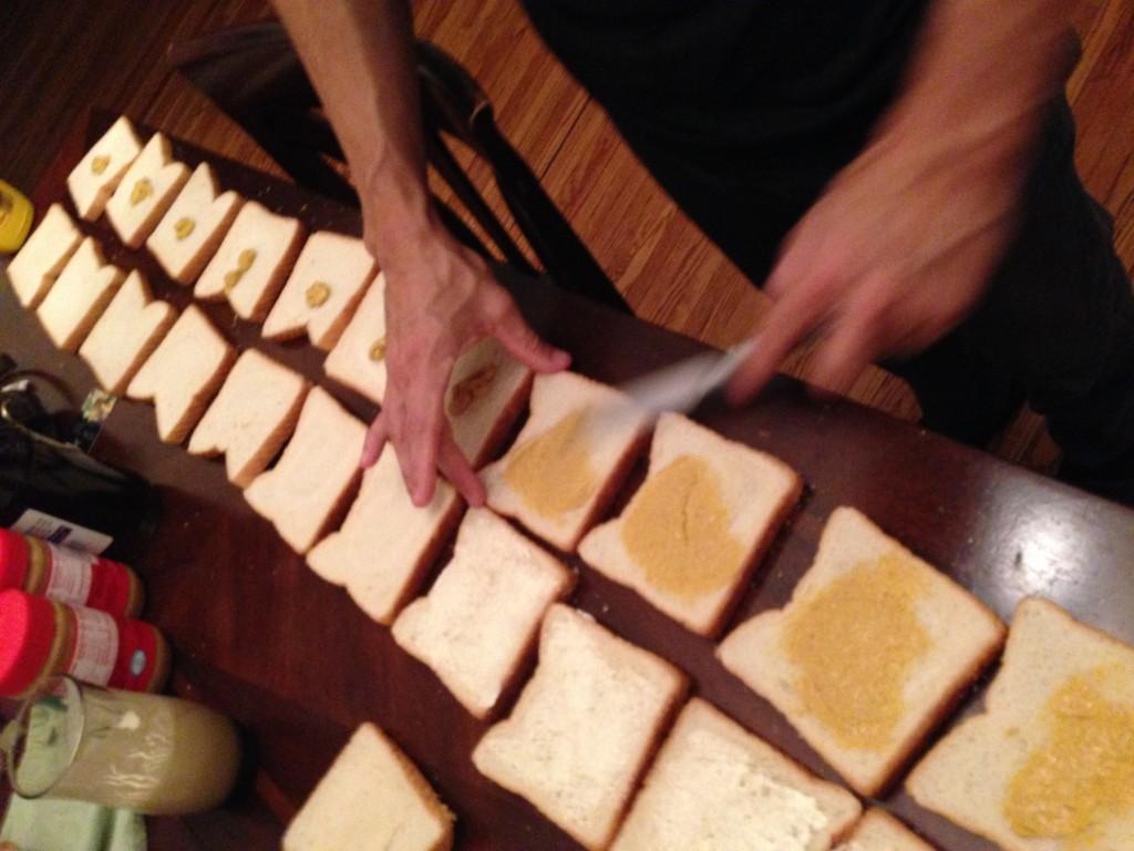 my lovely Trae making sandwiches for Ferguson folks...