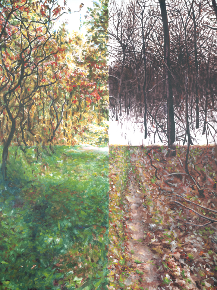 "I was commissioned to make this piece as a present for the client's fiance. We worked together to create a composite of four seasons' worth of photos of their ""special spot"" in the woods up in Illinois. (acrylic on canvas)"